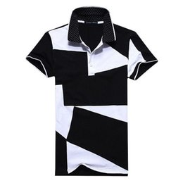 men white polo NZ - Designer Polo Shirt Male Summer Fashion New Men 'S Black and White Stitching Cotton Short Polo -Sleeved Polo Shirt Slim Men Clothing