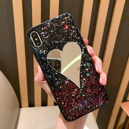 $enCountryForm.capitalKeyWord Australia - Fashion Design Glitter TPU Back Cover For iPhone 6 7 8 Plus X XR XS MAX Case With Heart Shape Mirror