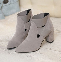Wholesale Boots In All Categories New Chunky Ankle Boots With Side Zipper Rounded multicolor Comfort Plus Size Warm in autumn suit Nice