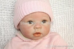 12 inch silicone doll baby reborn Canada - ht Wholesale 22 Inches Silicone Reborn Baby Doll For Boys Toys Safe Hobbies Real Life Baby Dolls Brown Eyes Special Toys