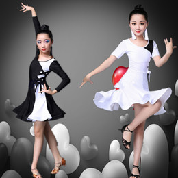 eca6a3f6c Long Sleeve Latin Dance Dress Girl Black white Professional Ballroom Dance  Competition Dresses Children Salsa Cha Samba Costume