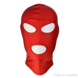 Full Face leather sex mask online shopping - 2019 BDSM Bondage Leather Hood for Adult Play Games Full Masks Fetish Face Locking Blindfold for Sex