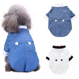 Discount small puppies dresses bows Pet Soft Bow Tie Coat Suit For Small Medium Dogs Puppy Party Costume Cat Clothes Winter New Dog Boys Dress Jacket