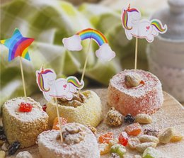 cute cakes for birthday 2019 - Unicorn Cupcake Topper Rainbow Horse Cute Cartoon Cake Topper Fruit Pick for Wedding Birthday Party Decoration discount