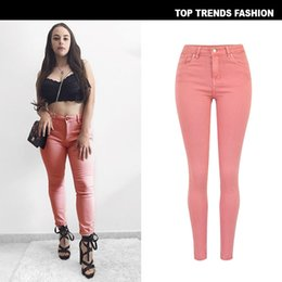 skinny trousers NZ - Women Skinny Jeans Classic High Waist Denim Pink Pants Jeans Trousers Women Stretchable Full-Length Pencil