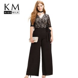 casual black tie NZ - Kissmilk Women Plus Size Clothing Casual Black Wrap Lace Patchwork Rompers Sweet Waist Tie Holiday Wide Leg Jumpsuits Y19060501