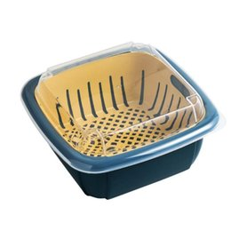 wholesale baskets lids NZ - Multifunction Double-layer Drain Basket with Lid Kitchen Refrigerator Drain Storage Box Plastic Fruit Storage Basket