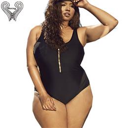 $enCountryForm.capitalKeyWord Australia - Xl - 4xl Plus Size Swimsuit Zipper Front Padded Swimwear One Piece Swimming Suit For Women 2019 New Large Bathing Suits Badpak Y19072401