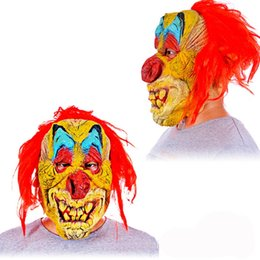 $enCountryForm.capitalKeyWord Australia - Horror Halloween Clown Evil Overhead Latex Costume Mask Party Scary Clown Mask Red Hair Cosplay Costume Props
