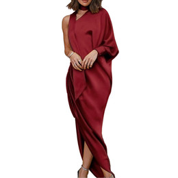 Wholesale casual evening outfits for sale – dress Women Sexy Evening Party Dresses Solid One Shoulder Long Sleeve High Slit Bodycon Maxi Dress Night Club Outfits