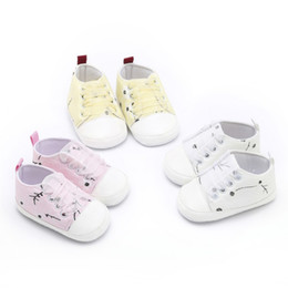 Baby Canvas Shoe Wholesale Australia - Toddler Infant First Walkers Baby Plum Blossom Print Canvas Shoes For Girls Spring Autumn Kids Soft Sole Casual Shoes
