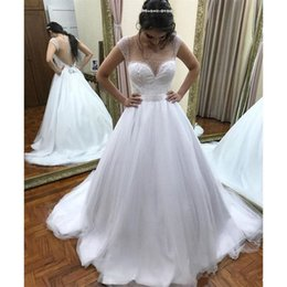 tull plus size wedding dress Canada - Sexy See Though Back White Tull Wedding Dresses With Pearls Simple A-Line Sweep Train Bridal Gowns 2019 Arabic robes de mariée