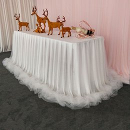 Organza table clOths online shopping - Chiffon Organza Wedding Table Skirt for Table Cloth Party Wedding Birthday Party Baby Shower Banquet Decoration Skirting