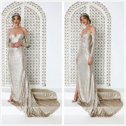 ad6cbce9 Elegant Gold Sequins Mermaid Long Evening Dresses 2019 Off The Shoulder Long  Sleeves Split Sweep Train Formal Party Prom Dresses