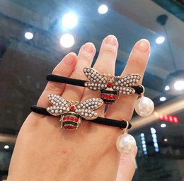 Bee Hair Australia - Korea Dongdaemun head rope metal pearl diamond bee hair ring pearl pendant Zama tail rubber band simple hair rope