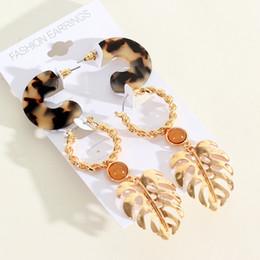 Leaf Shapes Plates Australia - Metal Leaf C-shaped Plate Set Earrings European and American New Fashion Golden Alloy Earrings Hot Sale