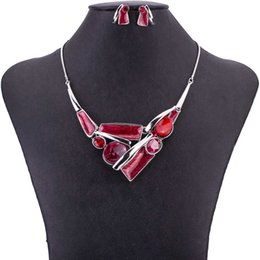 $enCountryForm.capitalKeyWord Australia - MS1505042 Fashion Red Jewelry Set Colorful Metal Pendant High Quality Lead&Nickle Free Woman's Necklace Earring Set New Coming