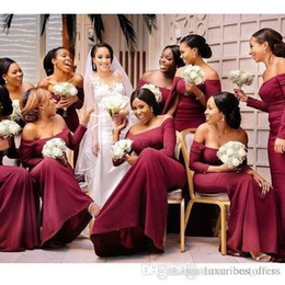 girls bridesmaid dresses sleeves NZ - African Sexy Black Girl burgundy Bridesmaid Dresses 2019 Summer Long Sleeve Wedding Party Guest Maid of Honor Gown Plus Size Custom Made