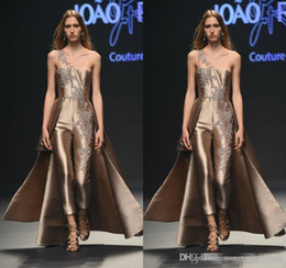 Training Jumpsuits Australia - Krikor Jabotian Lace Stain Prom Jumpsuit With Long Train 2019 One Shoulder Arabic Special Occasion Evening Gowns Custom Made