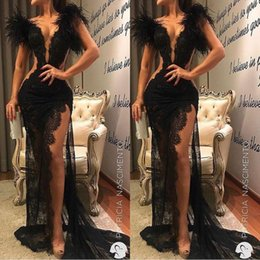 $enCountryForm.capitalKeyWord Australia - Sexy Black Lace Split Side High Prom Dresses 2019 Long Cheap Sheer Feather Mermaid Evening Gowns