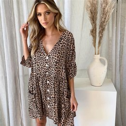 531aad62b1 Women Summer Sexy Button Down Short Sleeve Tunic Dress V Neck Loose Caual  Shift Dresses with Pockets