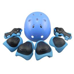 Skateboards Gear UK - Free Shipping 7pcs Elbow Wrist Knee Pads & Helmet Sport Safety Protective Gear Guard Children Skateboard Skating Cycling Helmet