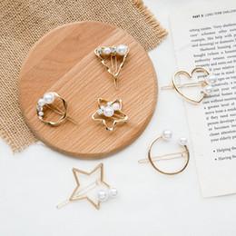 Simple personalidad chica perla horquilla forma geométrica perla pinza de pelo niños accesorios de pelo clip lateral simple en venta
