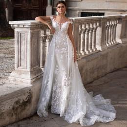 Конструктор 2020 Романтический Scoop шеи втулки крышки Mermaid Свадебные платья 2020 шикарное аппликациями Съемные Поезд принцессы свадебное платье на Распродаже