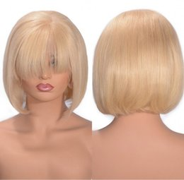 blonde lace front wigs bob Australia - Cambodian Straight Lace Front Wigs Blonde Full Lace Wig Pre Plucked 613 Human Hair Bob Wig 130% Density