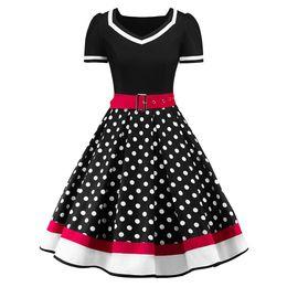 $enCountryForm.capitalKeyWord Australia - Polka S-2xl Dot Print Vintage Dress Women Summer V-neck Sleeveless A-lined Dress Sweetheart Pin Up 50s Party Dresses Belt designer clothes