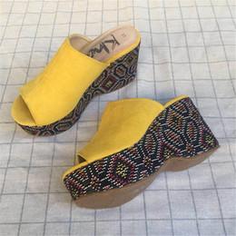 $enCountryForm.capitalKeyWord Australia - Yellow Fashion Summer Casual Ladies Shoes Platform Wedges High Heels Mules Open Toe Women Slippers Peep Toe Crystal Slides