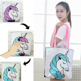 $enCountryForm.capitalKeyWord Australia - Large capacity Sequin Unicorn Bag Ladies Flamingo Shopper Bag Sparkle Dazzle Girls Totes Bags Girls Gift LJJW239