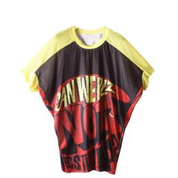 4ca7ad395 2019 verão mangas morcego T-shirt saia na moda meados de camisa de manga solta  tamanho grande gordura blusa cor letras roupas femininas