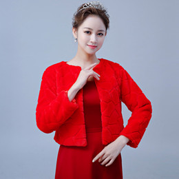 Discount prom wraps jacket shawl - New Fashion Red Bridal Wraps Long Sleeves Faux Fur Shawl Jackets For Wedding Prom Party Women Winter Outerwear Warm Bole