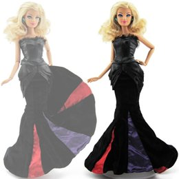 Evening Gowns Accessories Australia - High Quality Fishtail Dress Evening Party Gown Black Long Princess Skirt Clothes For Barbie Doll DIY Accessories Baby Gift Toy