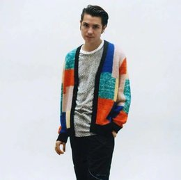 Knit Pattern Stitches Australia - 19SS Patchwork Mohair Cardigan Jacket Stitching Sweater Fashion Men Women Couple Coat High Quality Coat HFWPJK129