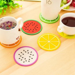 Modern Drink Coasters Australia - Wholesale- Fruit Coaster Silicone Cup Drinks Holder Mat Tableware Placemat Fashion Drinks Holder Mat Tableware Placemat Non-slip table mat