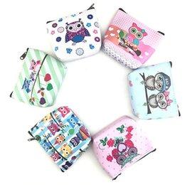 Fabric Bag Owl Australia - Women's Coin Bag Cartoon Owl Printing Wallet Card Holder Simple Retro Owl Printing Short Coin Purse Card Holders Handbag