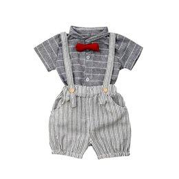 Summer Newborn Boy Girls Clothes Cute Bear Stripe Short Sleeve T-shirt+bib Pants Overalls Outfits 2pcs Set Clothing Sets Boys' Baby Clothing