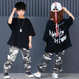 dance camouflage costumes Australia - Children Performance Wear Boys Girls Jazz Costumes Hip Hop Dancing Clothes Black Camouflage Plus Size Outfits For 6 8 10 12 14 Y