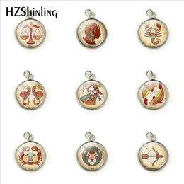 $enCountryForm.capitalKeyWord NZ - Fashion 12 Horoscope Signs Round Pendants Handmade Zodiac Pisces Cancer Leo Sign Jewelry Glass Dome Jewelry Charms Gifts