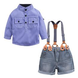 wholesale cowboy kids clothes 2019 - Boy Strap Suit Kids Designer Clothes Blue Strips Shirt Cowboy Single-Breasted Long Sleeve Two-Piece Pants Suit 28