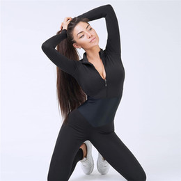 Siamese Clothes Australia - New Women Yoga Set Sportswear Siamese Sports Suit Gym Wear Running Clothing Tracksuit Sexy Ensemble Zipper Jumpsuits Fitness Set Y190508