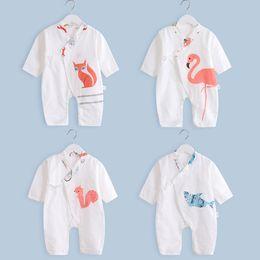 Summer Infant Muslin Australia - 5pcs lot Muslin Cotton Baby Romper side Opening For 0-15M Little Kids Soft Infant Jumpsuit for Summer Spring