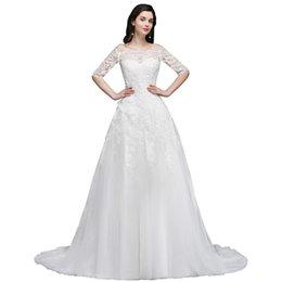 Современный белый Слоновой Кости Sheer Половина рукава свадебные платья линия с плеча аппликации с кнопкой покрыты обратно свадебные платья CPS742