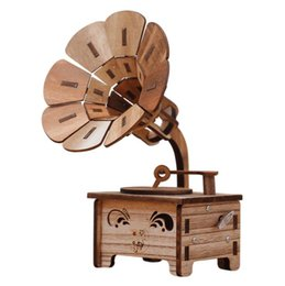 Kids Birthday Crafts UK - Creative Vintage Gramophone Shaped Music Box Retro Music Box Home Decoration Wood Crafts Birthday Gift for Girl Kid