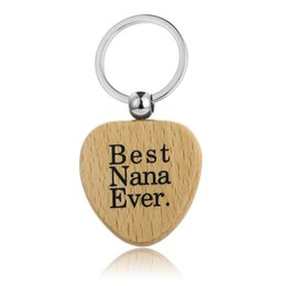 $enCountryForm.capitalKeyWord Australia - 12PC Best Nana Ever Keychain Heart Wooden Charm Keyring Family Love Grandmother Grandma Christmas Gifts Bag Key Ring Key Holder