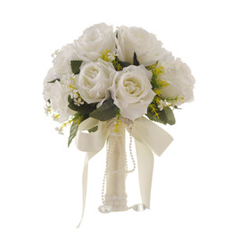 white rose fake flowers UK - 2019 Wedding Bridal Holding Artificial Flowers Bouquet Rose Bridesmaid Fake Flowers High Quality Wedding Party Supplies
