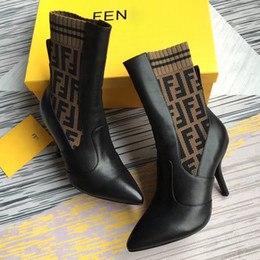 high heels slim NZ - Fashion women knitting sock Ankle boots slim high heel of 9.5CM real leather womens Skinny feet boots Breathable Sexy Elastic boots