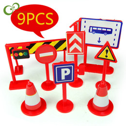 Discount signs for cars - 9pcs lot Traffic Road Signs Car Toy Accessories DIY Model Scene Toy Road Sign For Kids Children Educational Gifts LYQ